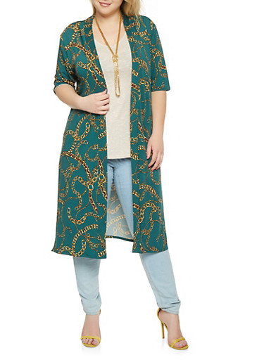 Plus Size Chain Print Duster,GREEN,large