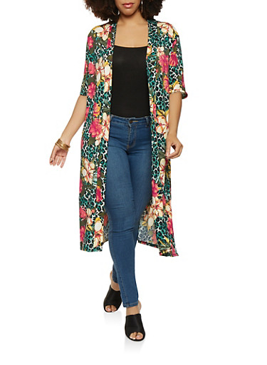 Plus Size Printed Open Front Duster,BLACK,large