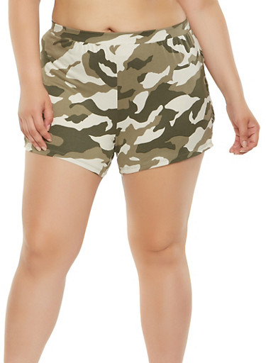 Plus Size Camo Lace Up Shorts | Tuggl