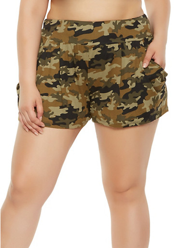 Plus Size Soft Knit Camo Shorts,OLIVE,large
