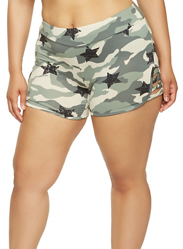 Plus Size Star Print Caged Camo Shorts,OLIVE,large