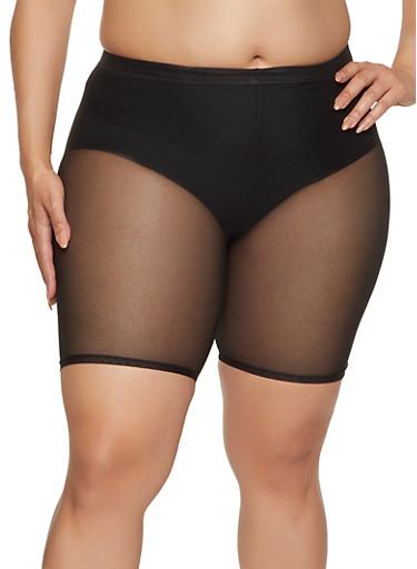Plus Size Solid Mesh Biker Shorts,BLACK,large