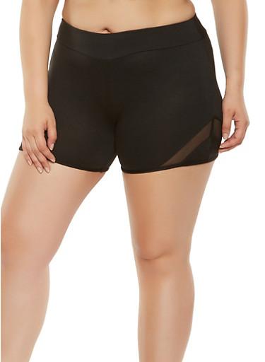 Plus Size Mesh Insert Bike Shorts,BLACK,large