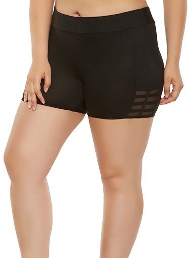 Plus Size Soft Knit Mesh Insert Bike Shorts,BLACK,large