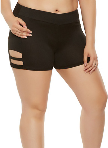 Plus Size Soft Knit Caged Shorts,BLACK,large