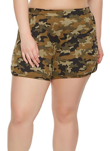 Plus Size Grommet Detail Camo Shorts,OLIVE,large