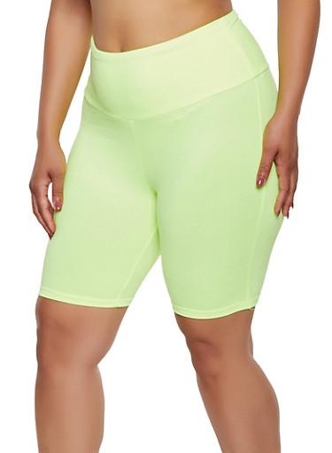 Plus Size Neon Soft Knit Bike Shorts,LIME,large