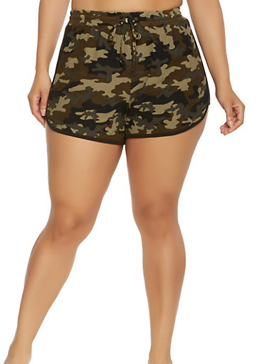 Plus Size Soft Knit Camo Dolphin Shorts,OLIVE,large