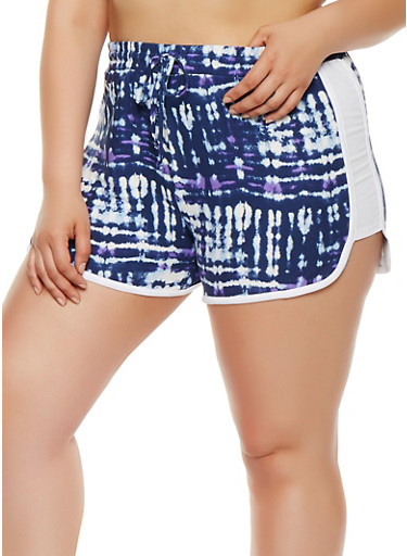 Plus Size Tie Dye Dolphin Shorts,NAVY,large