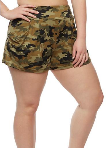 Plus Size Camouflage Print Shorts,OLIVE,large