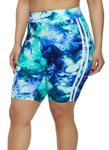Plus Size Tie Dye Varsity Stripe Bike Shorts,TEAL,large
