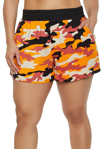 Plus Size Crochet Band Camo Shorts,ORANGE,large