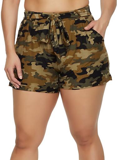 Plus Size Camo Soft Knit Shorts,OLIVE,large