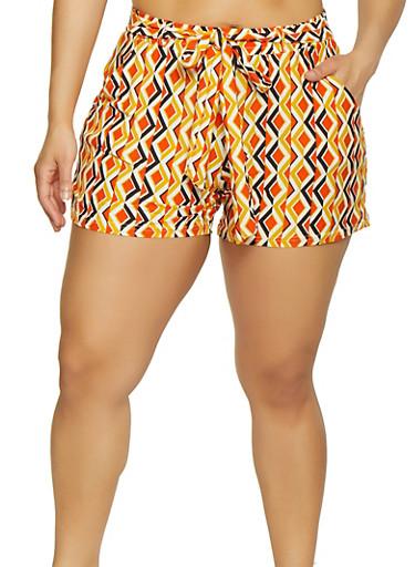 Plus Size Soft Knit Geometric Print Shorts,GOLD,large
