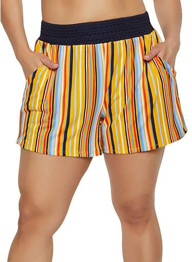 Plus Size Crochet Band Striped Shorts,YELLOW,large