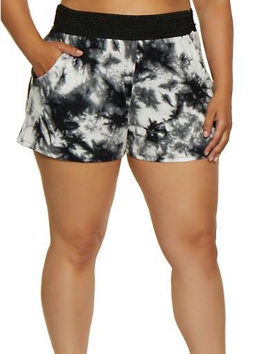Plus Size Pull On Printed Shorts,BLACK,large