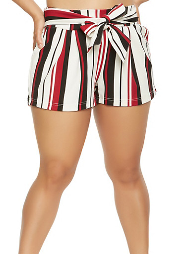 Plus Size Striped Tie Front Shorts,RED,large