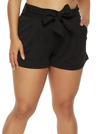 Plus Size Tie Front Shorts,BLACK,large