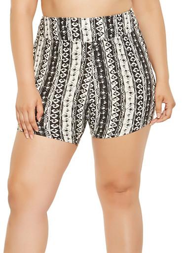 Plus Size Printed Bike Shorts,BLACK/WHITE,large