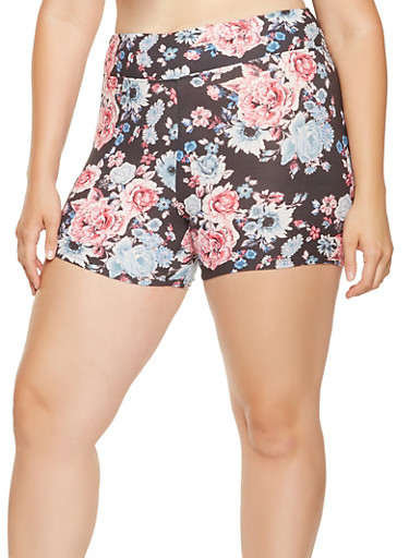Plus Size Floral Bike Shorts,NAVY,large