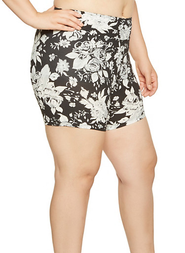 Plus Size Floral Bike Shorts,BLACK/WHITE,large