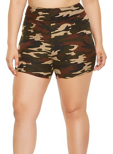Plus Size Camo Bike Shorts | Tuggl