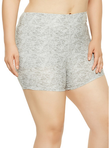 Plus Size Marled Bike Shorts,GRAY,large