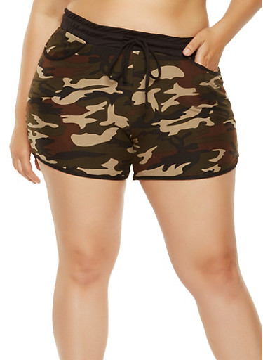 Plus Size Camo Print Dolphin Shorts,OLIVE,large