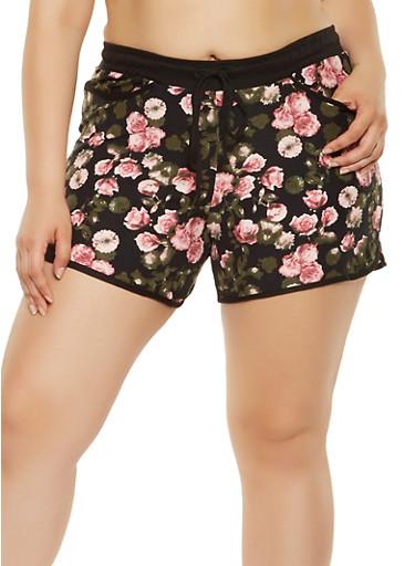 Plus Size Floral Soft Knit Shorts,BLACK,large