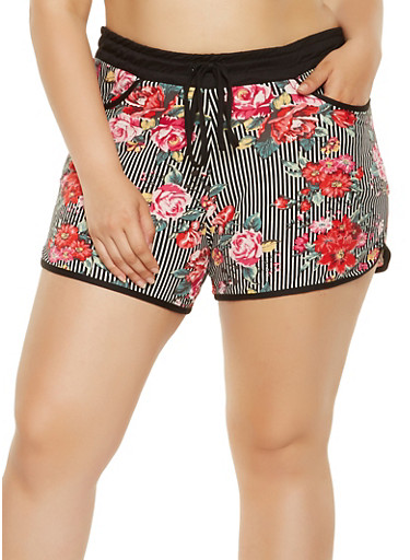 Plus Size Striped Floral Soft Knit Shorts,BLACK/WHITE,large