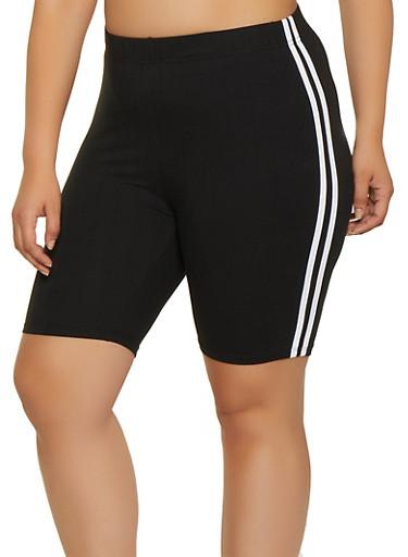 Plus Size Varsity Stripe Bike Shorts,BLACK,large
