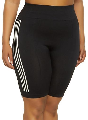 Plus Size Side Stripe Bike Shorts,BLACK,large