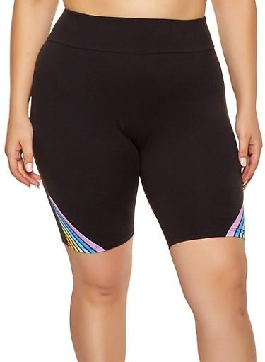 Plus Size Rainbow Stripe Detail Bike Shorts,BLACK,large