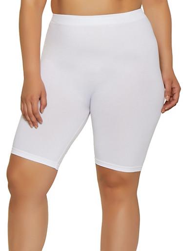 Plus Size Solid Bike Shorts | 0960061637791,WHITE,large