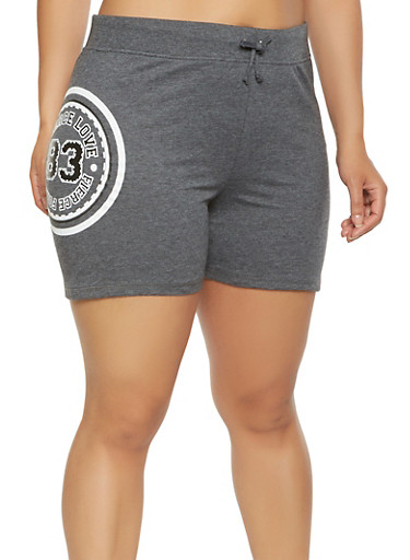 Plus Size Graphic Athletic Shorts,CHARCOAL,large