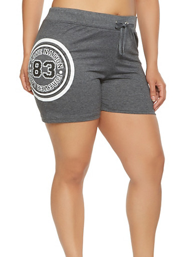 Plus Size Love Graphic Athletic Shorts,CHARCOAL,large