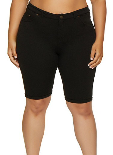 Plus Size Bermuda Shorts,BLACK,large