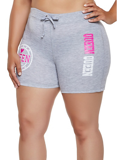 Queen Forever French Terry Lined Sweat Shorts,HEATHER,large