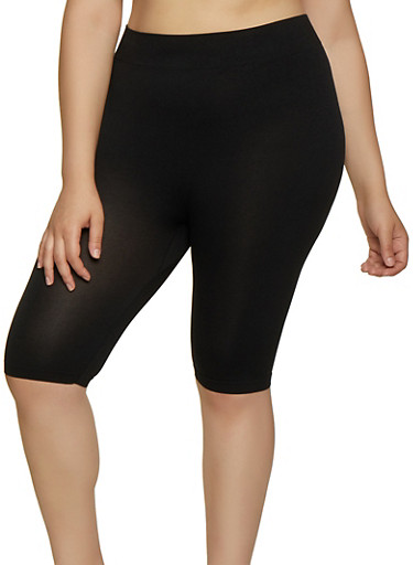 Plus Size Seamless Bike Shorts,BLACK,large