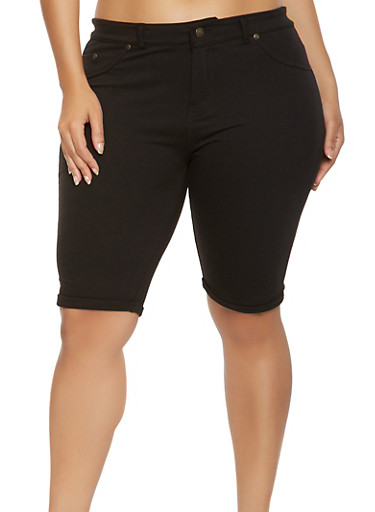 Plus Size Knit Bermuda Shorts,BLACK,large