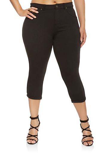 Plus Size Knit Capri Pants,BLACK,large