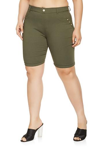 Plus Size Studded Bermuda Shorts,OLIVE,large