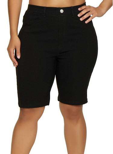 Plus Size Knit Bermuda Shorts | 0960063402087,BLACK,large