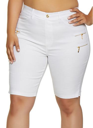 Plus Size Zipper Detail Knit Bermuda Shorts,WHITE,large