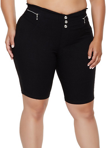 Plus Size Pull On Stretch Bermuda Shorts,BLACK,large