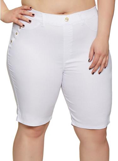 Plus Size Stretch Pull On Bermuda Shorts,WHITE,large