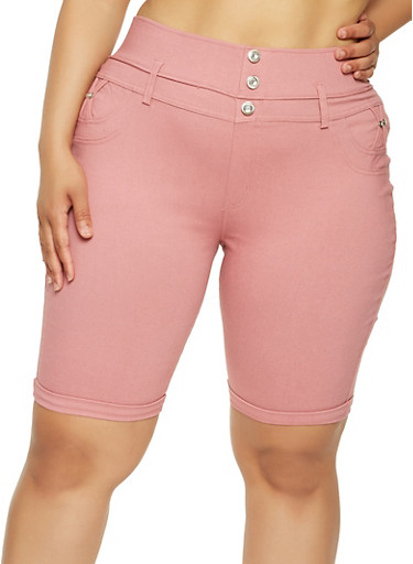 Plus Size High Waisted Bermuda Shorts,PINK,large