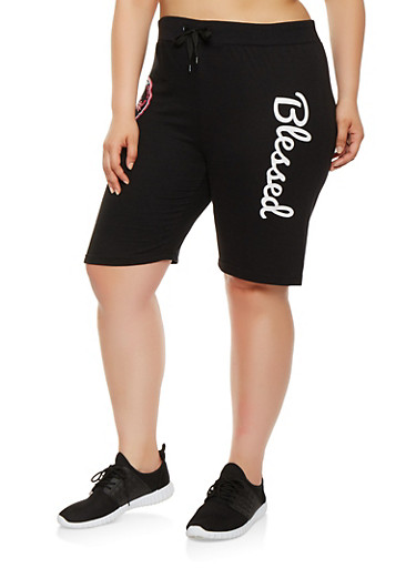 Plus Size Blessed Graphic Bermuda Shorts | Tuggl