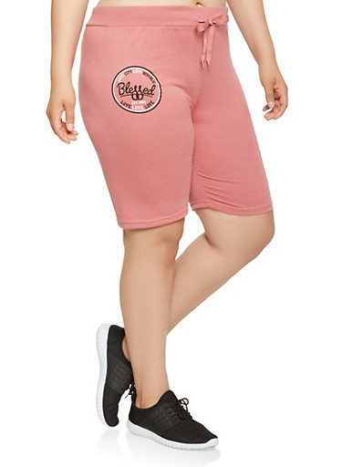 Plus Size Blessed Graphic Bermuda Shorts,PINK,large