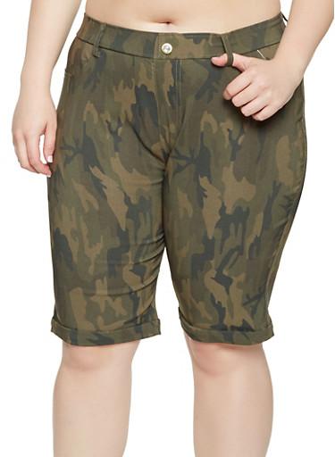 Plus Size Camo Bermuda Shorts,GREEN,large